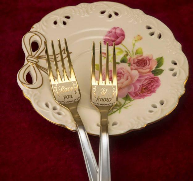 Engraved forks