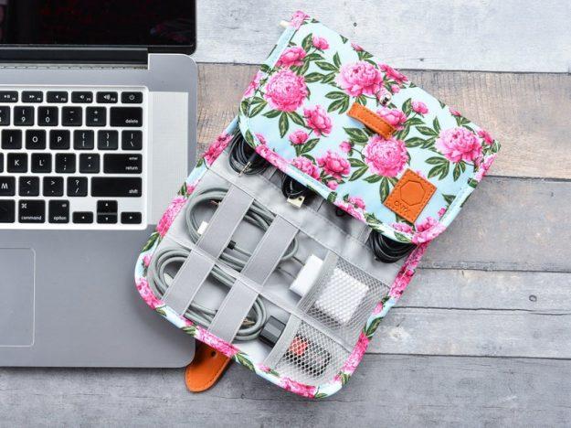 Floral Electronics Organizer Bag