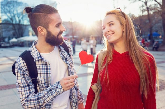 cute couple flirting