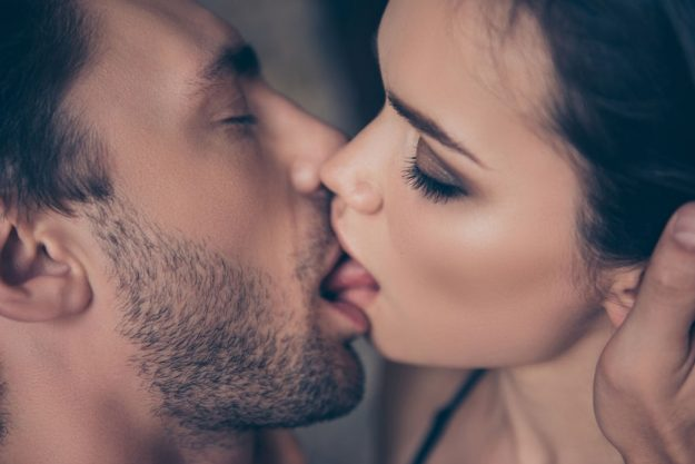 slow and passionate kissing between lovers
