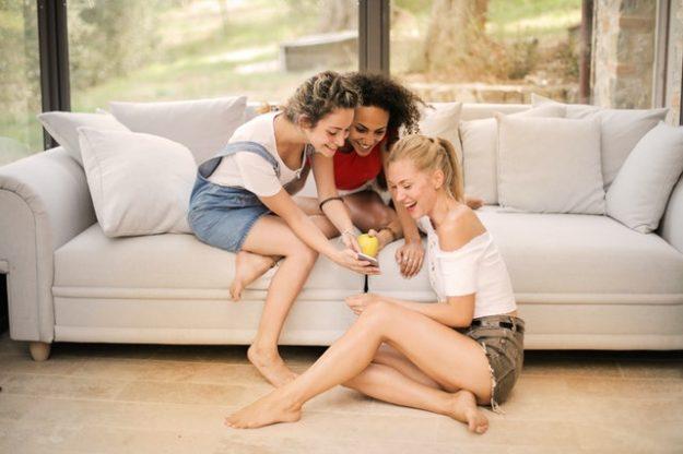 Girls texting their crush